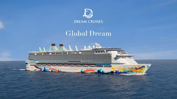 Rendering der Global Dream mit Rumpfbemalung. Gafik: Dream Cruises