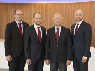 Die Geschäftsführung der Meyer Werft (v.l.n.r.): Thomas Weigend, Dr. Jan Meyer, Bernard Meyer und Tim Meyer. Foto: Meyer Werft